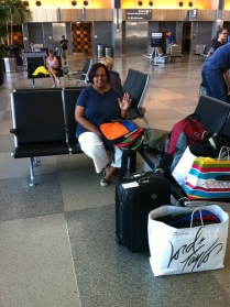 On the way to India with bags of backpacks