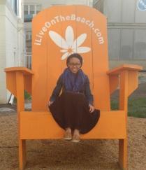 Queen on her beach throne.