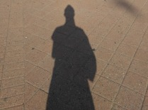 her shadow looks like a warrior's
