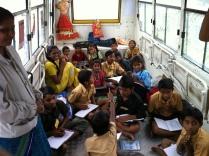 Inside the mobile school bus